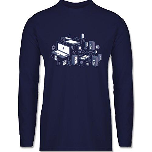 Nerds & Geeks - Netzwerk Design - Longsleeve / langärmeliges T-Shirt für Herren Navy Blau