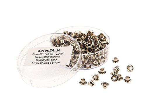 250 Ösen SEP30-3.2mm, vernickelt f. kangaro® EP-20, EP-30 & LGI Ösenstanze - sternspaltend