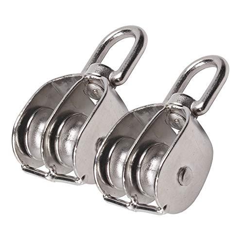 eizur 1Paar Pulley Block Edelstahl doppelt Laufrolle-Seilrolle Laden Universal Spannrolle Kapazität Kette Traktion Rad