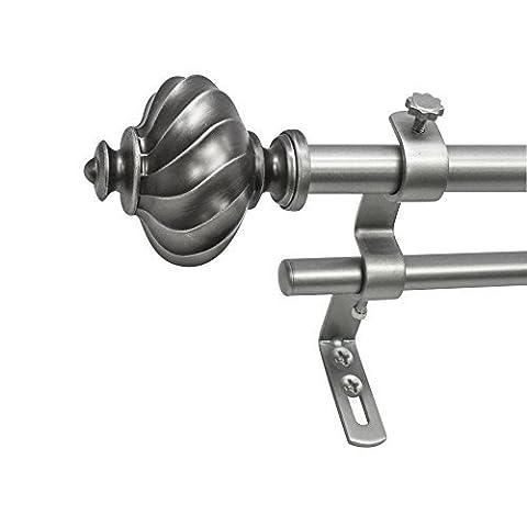 Beme International 5/8 Montevilla Core Ribbed Knob Telescoping Double Drapery Rod Set, 48-86, Dark Nickel by Beme International