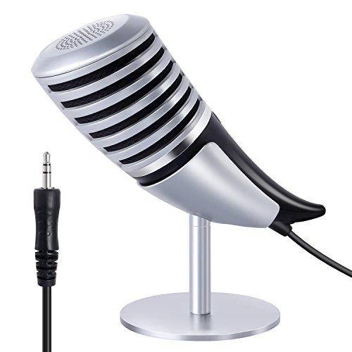 Tonor Microfono a Condensatore per Registrazione con 3,5mm Plug Microfono Classic Vintage per Computer Laptop