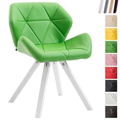 Clp sedia design rétro tyler imbottita, similpelle - poltroncina deco gambe quadrate e telaio in legno di faggio i sedia visitatore con schienale i portata max 125kg verde bianco (rovere)