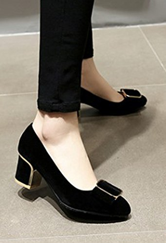 Aisun Attraverso Quadrato Scarpe Tira Eleganti Nere Donna Tacco rHFPrq