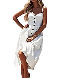 Vestido para Mujeres Señoras Verano Sin Mangas Falda de Girasol Sexy Vestido de Botón de la