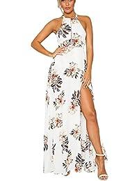 BoBoLily Vestiti Lunghi Donna Eleganti Estivi Maxi Vestito Cerimonia Vintage  Spiaggia Spalla Nuda Floreale Abito Spacco bc0df2ba734