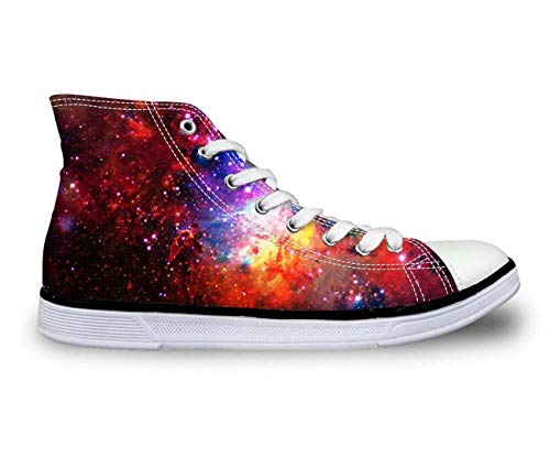 65580651d22a3 Galaxy High Top Canvas Shoes Women Fashion Flat Shoes Lace-up Sneakers For  Girls 5 Galaxy C0161AK 10