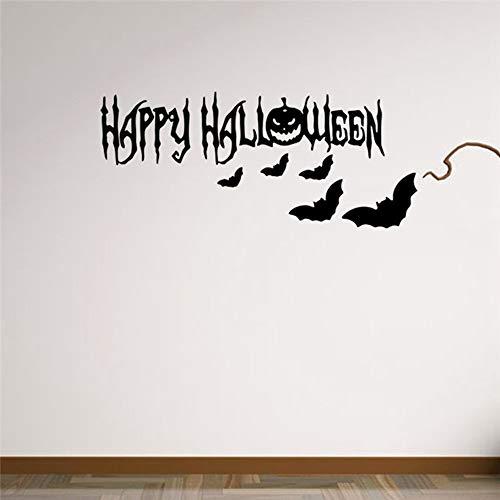 QTXINGMU Flying Bat Hexe Schädel Pumhpkin Wall Sticker Happy Halloween Tag Trick Oder Festlichkeit Fensterdekoration Festival Wand Aufkleber Poster (2 Pcs)