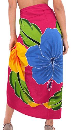 La Leela liscia rayon vernice della mano farfalla coprire bikini pareo 78x43 pollici Rosso rubino