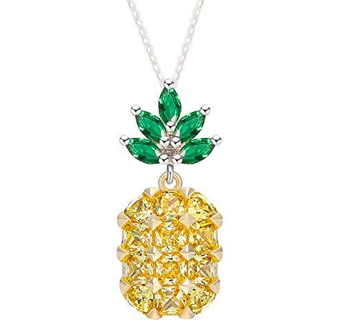 Topasaire Halsketten Für Frauen Modeschmuck Damen Einfache Tropischer Regenwald Grüne Blatt Gelb Ananas Kette Anhänger ChokerSchmuck Halskette Deko Party Zubehör Geschenk Für Frauen
