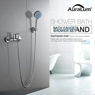 Auralum® klassisch Duschsystem mit Handbrause und Wasserhahn Brause mit Drei Funktion hochwertig 40mm Keramik Ventil Duschset gute Idee für Badewanne und Badezimmer 2 Jahren Garantie