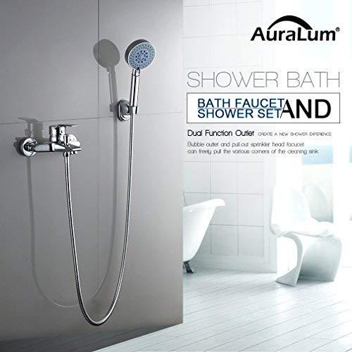 AuraLum klassisch Duschsystem mit Handbrause und Wasserhahn Brause mit DREI Funktion hochwertig 40mm Keramik Ventil Duschset Gute Idee für Badewanne und Badezimmer, KalamoQYL1019#NVT612, Kupfer