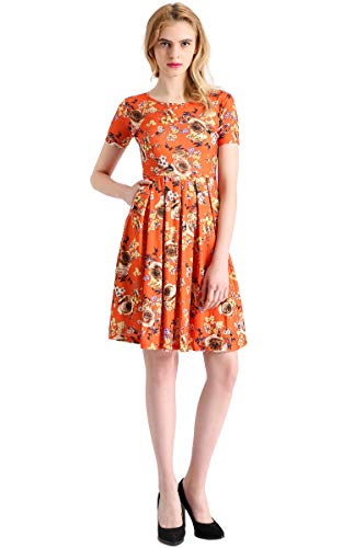 AMORETU Damen Casual Vintage Kurzarm A-Linie Plissee Blumendruck Tunika Midi Kleider Orange