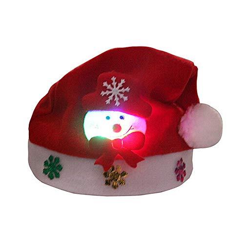 hutiee 12pcs LED rougeoyant sombreros de Navidad brillante Mignon rojo sombreros de Navidad Papá Noel vacaciones portant partido niños Décor Fournitures RY Baterry incluido )