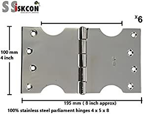 DOOR HINGES/ 100% Stainless Steel Classic Series Parliament C-Type Hinge ( Glossy Silver finish, Pack of 6, 125mm x 250CLCP) , HEAVY DUTY QUALITY,PREMIUM FINISH