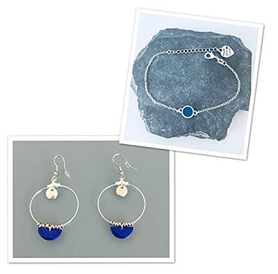 Parure bracelet en argent et créoles en acier inoxydable, parure bijoux, boucles d'oreilles, créoles, bracelet, cadeau Femme