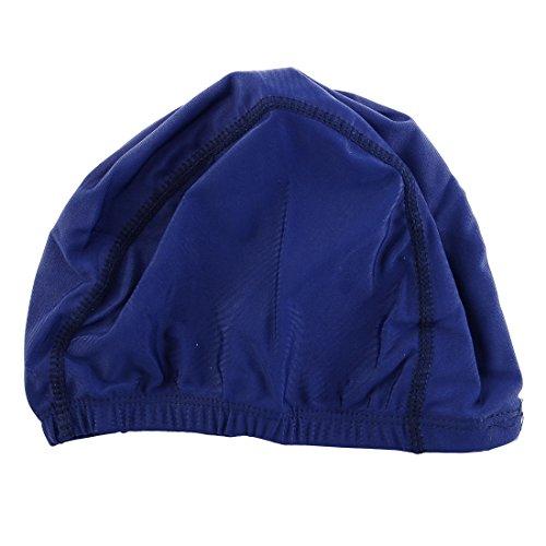 sourcingmap® Frau-männer Marineblau Elastische Polyester Schwimmen-schwimmen Hut Kappe Polyester-schwimmen-kappen
