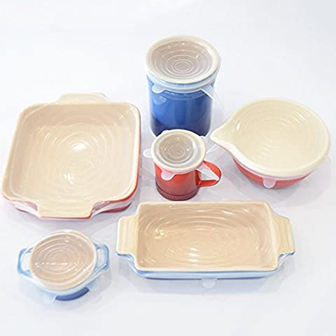 BlackHumor Silicone Stretch Lids,6 PCs Various Sizes Silicone Lids Food Wrap Bowl , Bpa Free Reusable Silicone Stretch Cover (Transparent)