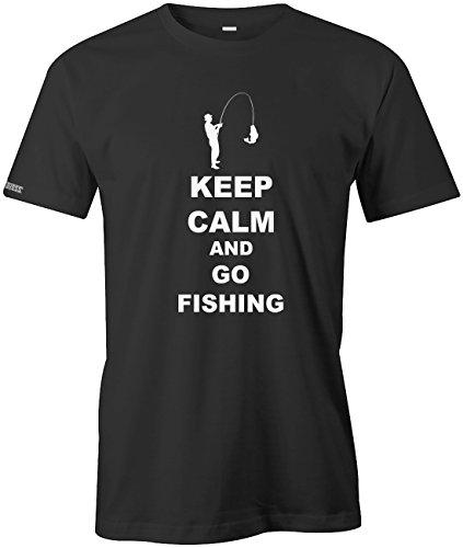 Keep calm and go Fishing - Angeln Sport Hobby - Herren T-SHIRT Schwarz