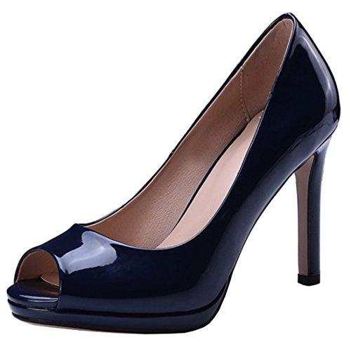 Atyche Damen Peeptoes High Heels Pumps mit Plateau und Stiletto Lack Basic Büro Arbeit Schuhe