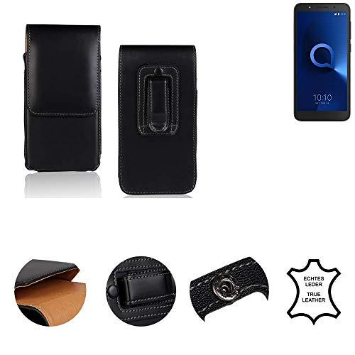 K-S-Trade® Gürtel Tasche Für Alcatel 1C Single SIM Handy Hülle Gürteltasche Schutzhülle Handy Tasche Schutz Hülle Handytasche Seitentasche Vertikaltasche Etui, Leder Schwarz, 1x