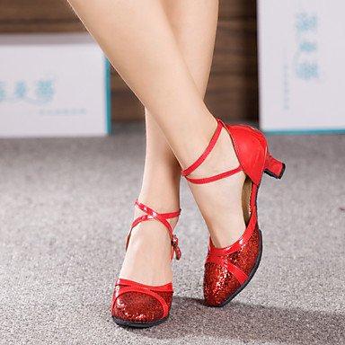 XIAMUO Damen Tanzschuhe Latein Lackleder/funkelnden Glitter/Paillette/Synthetische kubanischen HeelBlack/Rot/Silber/ Silber