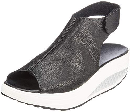 Hishoes Sandali Donna con Zeppa Comfort Casual Scarpe Estivi con Sandali Infradito Mocassini Pelle Scarpe per Camminare Sportive Outdoor