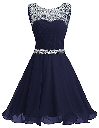 La_mia Braut Damen Navy Blau Chiffon Pailletten Kurzes Jugendweihe Kleider Abendkleider Partykleider Festlichkleider-36 Navy Blau -