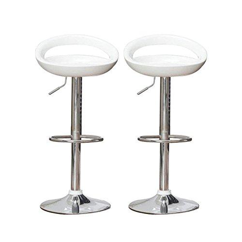Flyelf 2 x Sgabelli da bar Sedia da pranzo con poggiapiedi 360°Mobili orientabile regolabile 59-80cm (Bianca)