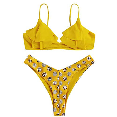 COZOCO Heisser Verkaufender UnterwäSche-Frauen GekräUselter Aufgeteilter Bikini-Satz AufgefüLlter Beachwear-Reizvoller Strand-Badebekleidungs-Blumendruck-Bikini