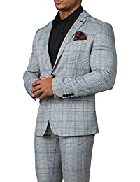 b954eb0ad Avail London Mens Black and White Suit Jacket Muscle Fit Stetch Notch Lapel  Prince of Wales