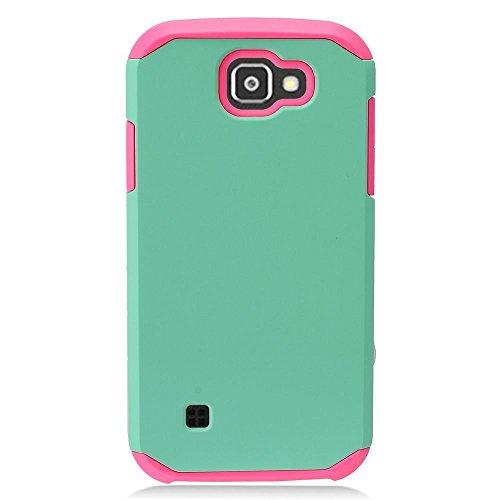 eaglecell-Für LG K3/LS450(Boost Mobile)-Hybrid Dual Layer Gummierte Schutzhülle Hard Case, Hot Pink/Mint Blue - Hybrid Mobile