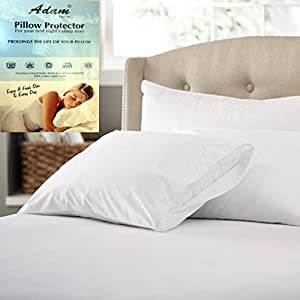 "Adam Home Anti Allergy 100% Cotton Pair of Pillow Protectors White Size(29x19"")"