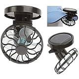 Vale Eco-amigo Clip en el casquillo del sombrero Mini portátil ventilador solar Panel de energía de la energía de la célula de refrigeración Sun Pesca Ventilador de excursión que acampa al aire libre Negro