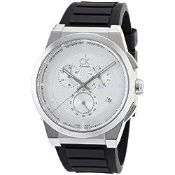 Calvin Klein Men's Black Rubber Band Steel Case Quartz Chronograph Watch K2S371D6