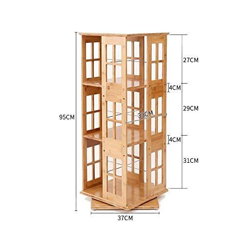 Bücherregale Und Regale, Würfel-Verkaufsregal Und Raumteiler, Die Leicht Zusammengebaut for Büro-Wohnzimmer Sich Drehen (Color : Field Word, Size : 3-Tier 37 * 37 * 95cm) -