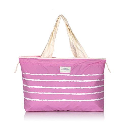 GWDZX Mit Großer Kapazität Tragbar Wasser Schulter- Handtaschen Personalisierte Tragbare Falt- Einkaufstasche (58 * 12 * 33 Cm),Purple Pink