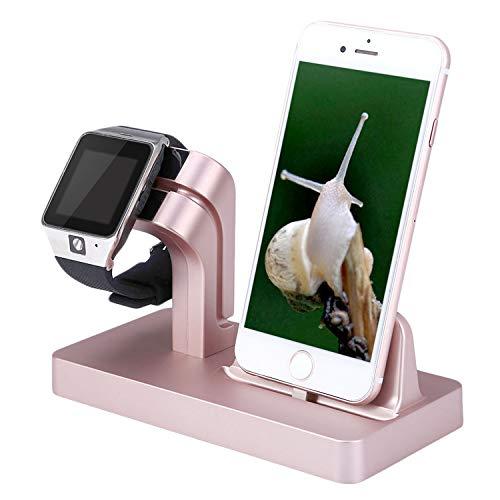 Moclever 2 in 1 Handy Halterung Ständer Halter Ladegerät Ladestation Docking Station Stand Dock Halterung für Apple Watch Series + iPhone X/8/8 Plus/7/7 Plus/6/5s/4s (Rose Gold)