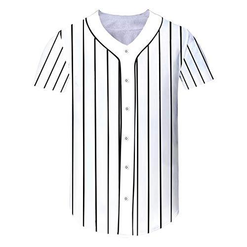 GJCDGPZTX Streifen Baseball Jersey Männer Frauen Sommer Casual V-Ausschnitt Baseball Shirts Button Shirts Kurzarm Bekleidung - Galaxy Jersey