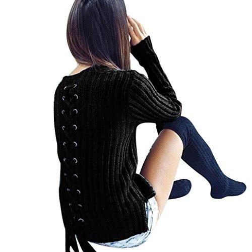 OverDose Femmes Manches Longues Casual Manteau De Chandails O-Cou Bandage Blouse Noir