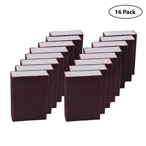 Schleifschwamm (16 Blöcke) - Coarse Grob Schleifblock (10 x 6.9 x 2.5cm) - Nass und Trocken Schleifschwamm für Metall, Holz, Kunststoff und Dekorationen