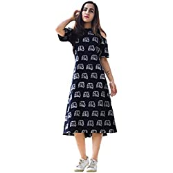 Royal Export Women's Black Printed Cotton Dress (XX-Large)