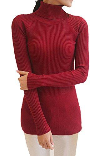 SODIAL(R) Damen Baumwollmischungs Rollkragenpullover Langarm gestrickt Pullover weinrot