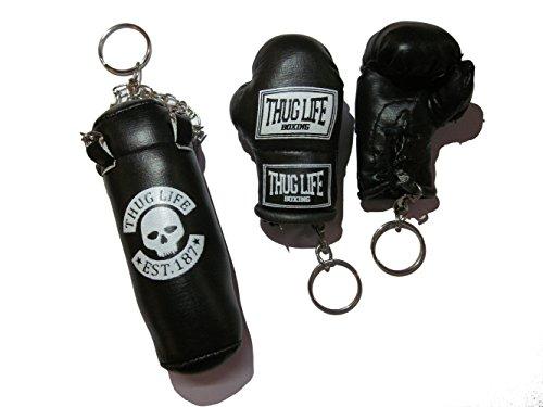 Schlüsselanhänger Set Boxsack Sandsack und Boxhandschuhe schwarz SONDEREDITION THUG LIFE (Totenkopf)