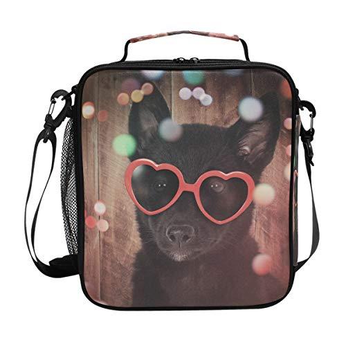 JSTEL Lunchtasche süßer schwarzer Hund mit rotem Herz Sonnenbrille Holz Handtasche Lunchbox Lebensmittelbehälter Gourmet Bento Coole Tote Kühltasche Warm Tasche für Reisen Picknick Schule Büro