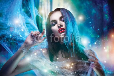 druck-shop24 Wunschmotiv: Beautiful Halloween witch portrait. Sexy model girl with Halloween makeup #121658626 - Bild auf Leinwand - 3:2-60 x 40 cm/40 x 60 cm