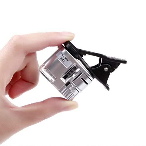 Ghh1122 60x Vergrößerungsglas tragbare Mini-Handyclip Mikroskop Lupe mit LED-UV-Lichtern für universelle Smartphones Jade Identifikation Schmuck antike Stempel Sammeln Werkzeug -