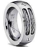 Ultimate Metals Co. 8MM Bague Titane Avec Cable D' acier Pour Homme Taille 61.5