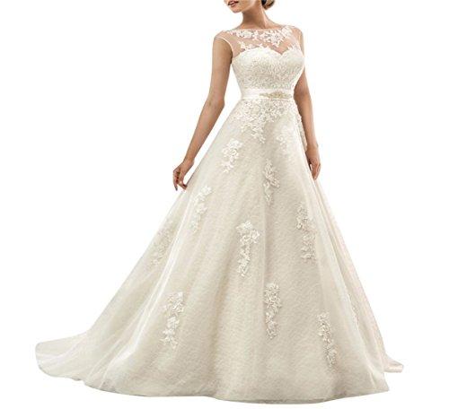 XUYUDITA Illusion Spitze Eine Linie Elegante Lange Brautkleider Appliques Brautkleider Elfenbein-44
