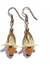 Vintage Style Antique Brass & Pale Yellow Lucite Flower Earrings w/ Red Aventurine
