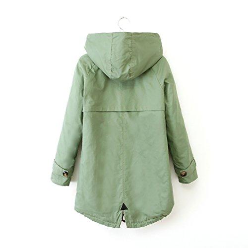 2a44608798d5 YOUJIA Kapuzenjacke Damen Winterjacke Wintermantel Steppjacke Kunstpelz Lange  Parka Outwear Jacke Mantel Grün